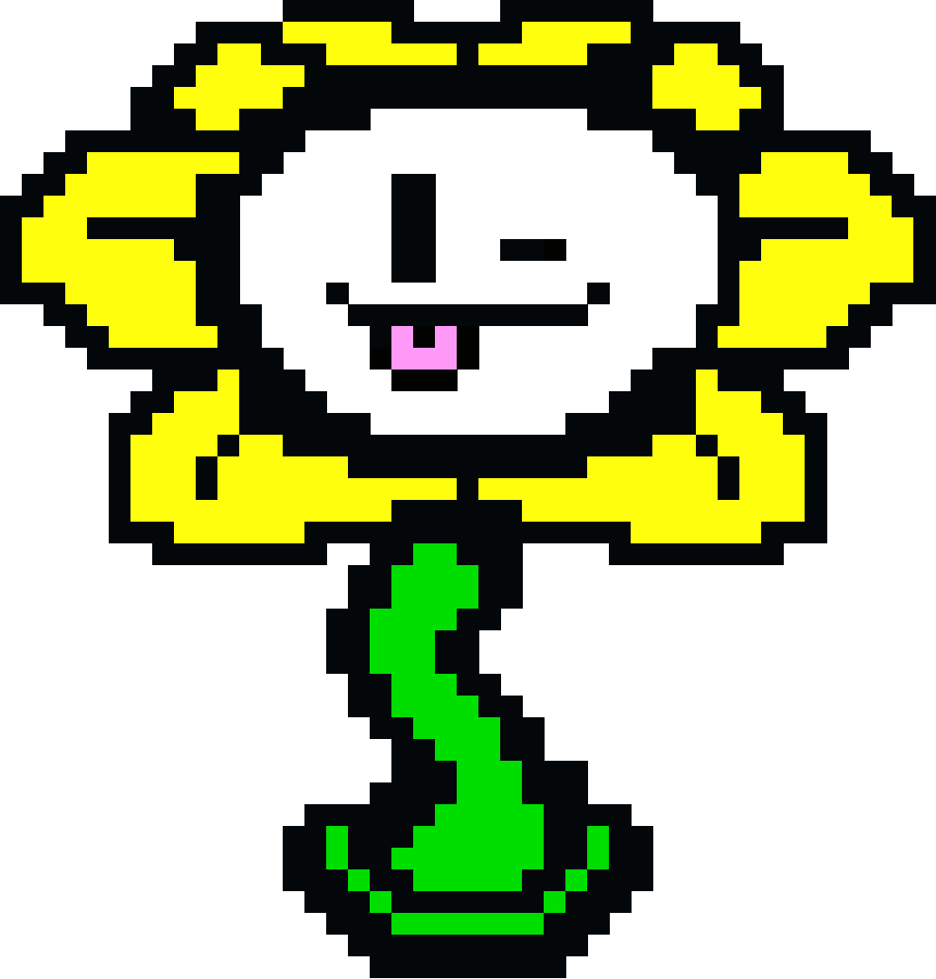 Flowey Tongue Sticking Out - Grid Paint
